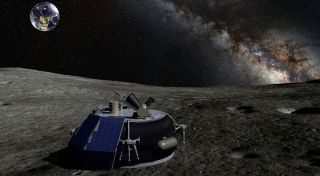 Companies planning non-traditional space activities, like lunar landers, argued at a hearing against seeking changes to the Outer Space Treaty. Shown here, an artist's concept of the private MX-1 lunar lander by Moon Express.