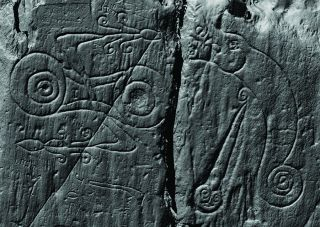 A laser scan image of the Pictish symbols carved at Trusty's Hill, which prompted archaeologists to study the site and discover an early medieval fort.