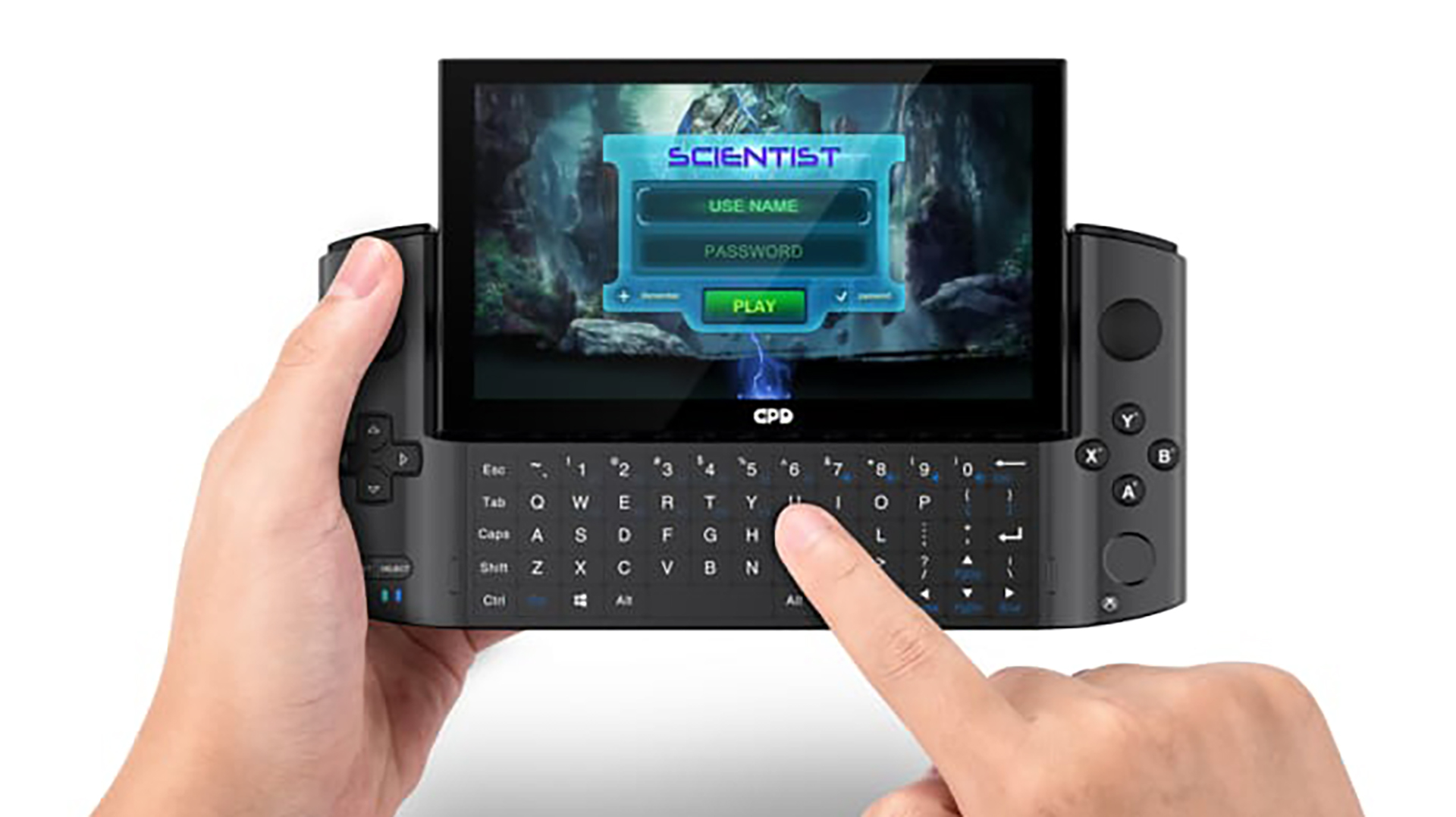 GPD Win 3 handheld gaming console in use