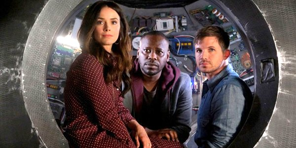 Lucy, Rufus, and Wyatt in the Timeless Christmas series finale on NBC