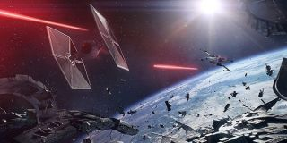 A space dogfight in Battlefront II.
