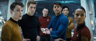 John Cho, Simon Pegg, Zoe Saldana, Karl Urban, Anton Yelchin, and Chris Pine in Star Trek (2009)_Paramount Pictures