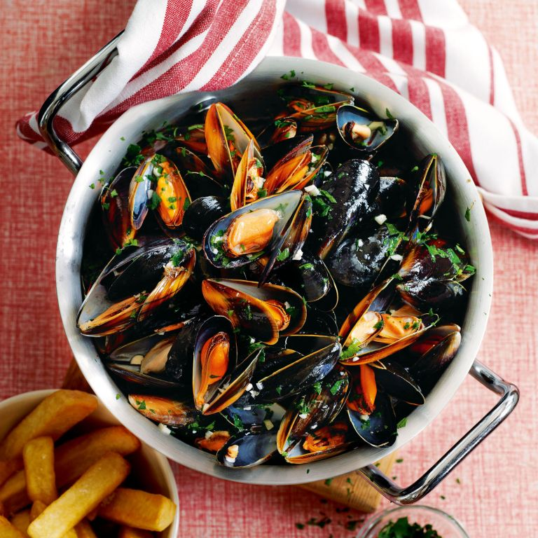 Moules marinières with home-made oven chips recipe-recipe ideas-new recipes-woman and home
