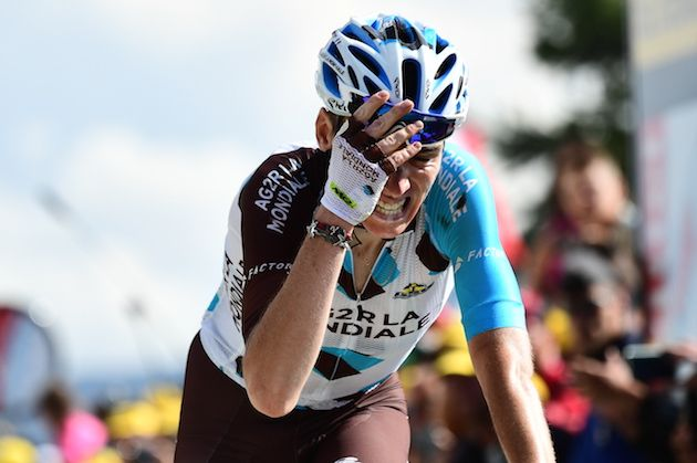 Romain Bardet at the finish of stage 18 of the 2017 Tour de France