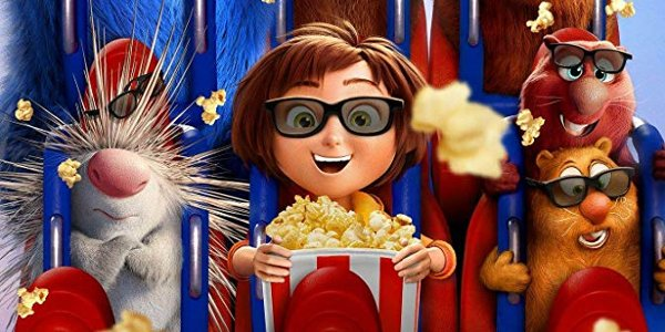 Wonder Park June and her friends watching a 3D movie with popcorn