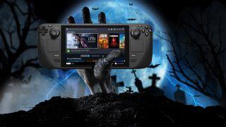 Mano di zombi che tiene una console Steam Deck