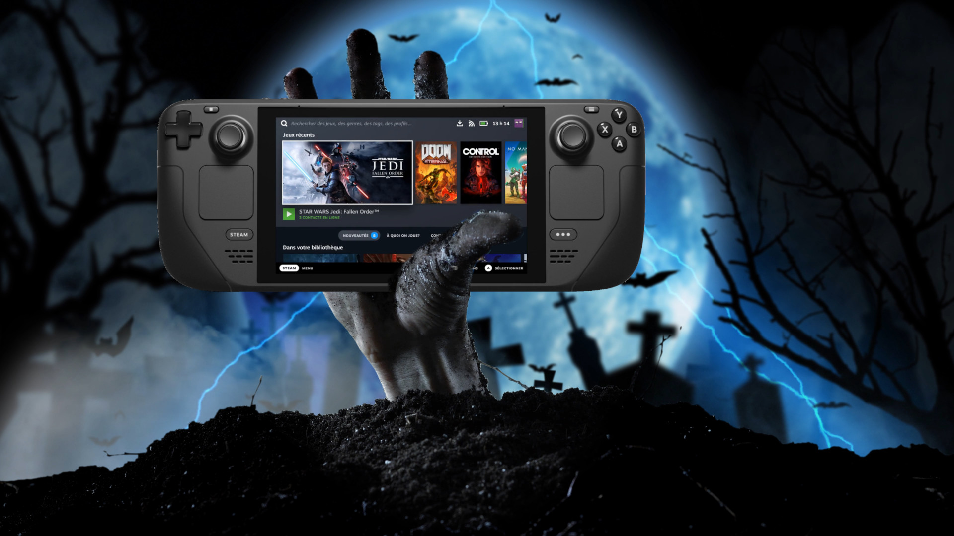 Zombie hand holding a Steam Deck console