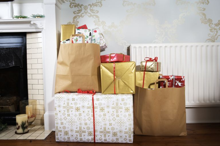 christmas gifts in a pile