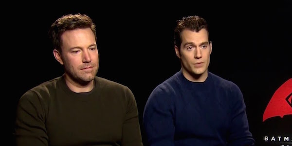 Ben Affleck and Henry Cavill doing press for Batman v Superman
