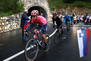 TIGNES FRANCE JULY 04 Rigoberto Urn of Colombia and Team EF Education Nippo Richard Carapaz of Ecuador and Team INEOS Grenadiers Enric Mas of Spain and Movistar Team during the 108th Tour de France 2021 Stage 9 a 1449km stage from Cluses to Tignes Monte de Tignes 2107m Public Fans LeTour TDF2021 on July 04 2021 in Tignes France Photo by Chris GraythenGetty Images
