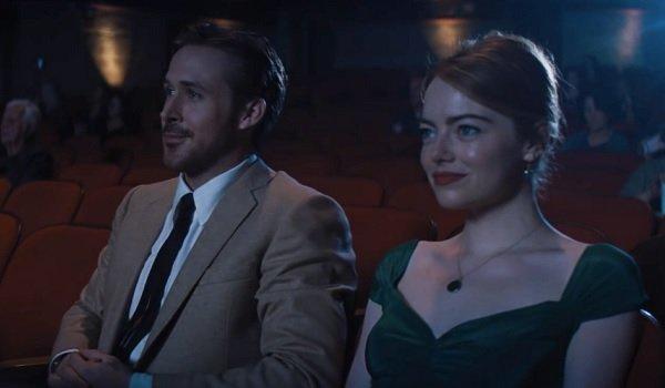 La La Land Ryan Gosling and Emma Stone smiling on a movie date
