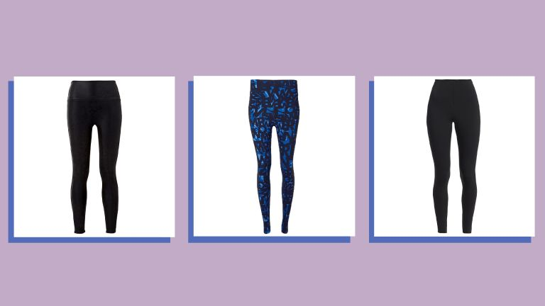 Three of w&h's best leggings picks in a collage image on a purple background, with styles from Sweaty Betty and Spanx