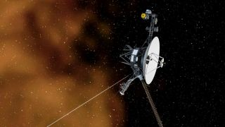 An illustration of the Voyager 1 spacecraft, which is traveling through interstellar space.