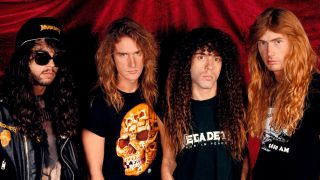 Megadeth in 1990 against a red curtain