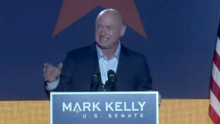 Former NASA astronaut Mark Kelly, seen addressing supporters on Tuesday night (Nov. 3) in Tucson, has been elected by the state of Arizona to the U.S. Senate. Kelly is the fourth astronaut to secure a seat in Congress.