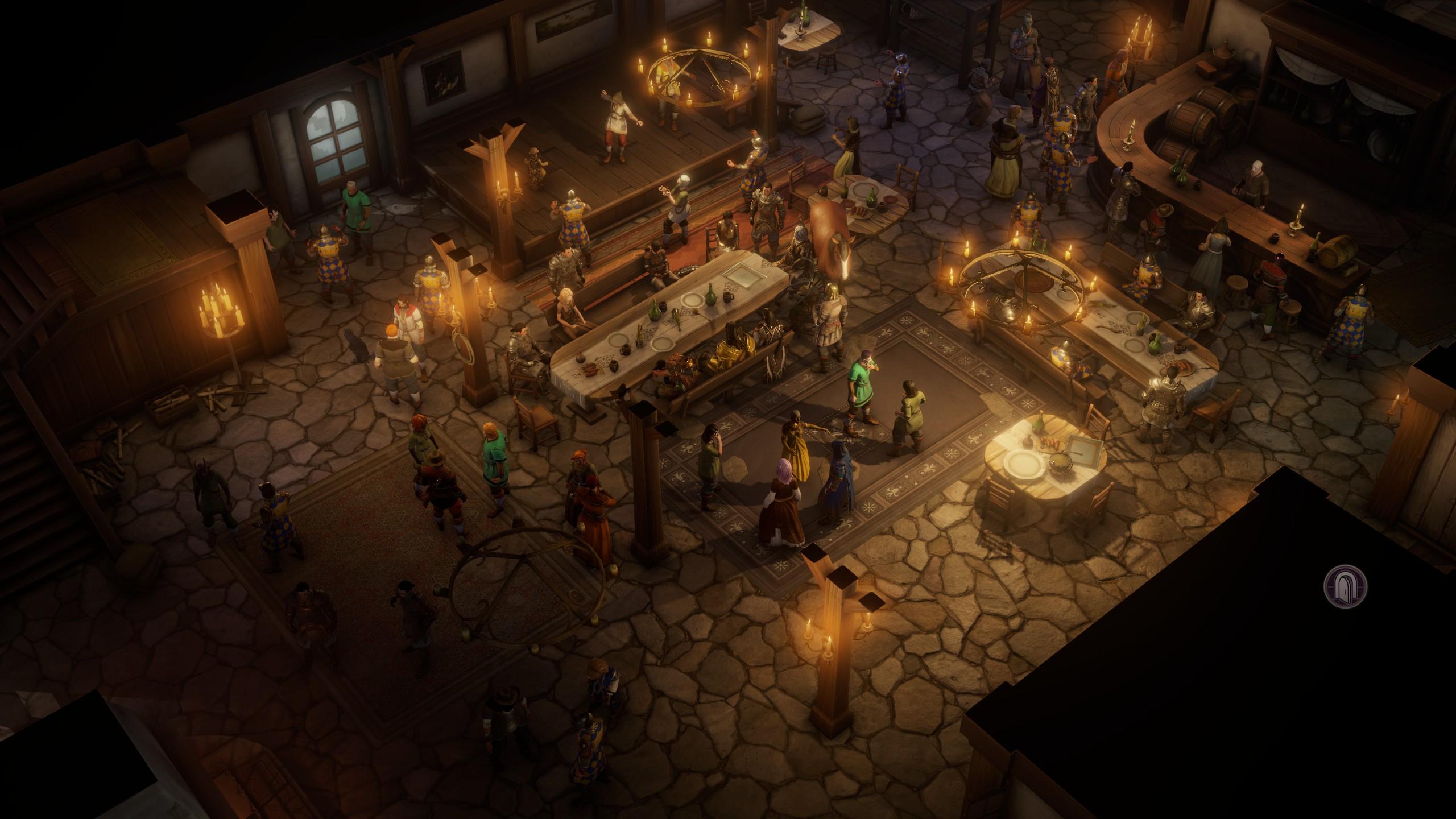 A dimly-lit tavern