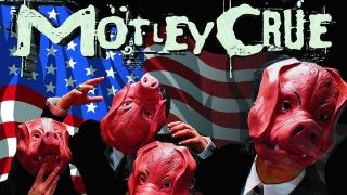 The cover of Motley Crue's Generation Swine album featuring the band in suits and pig masks