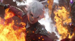 Alphinaud engulfed in flames in the Final Fantasy 14: Endwalker trailer