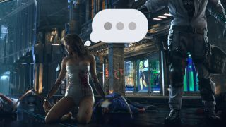 An illustration of a woman from the Cyberpunk 2077 trailer about to say something.