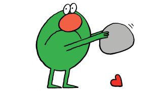 character designers: green character holding a rock