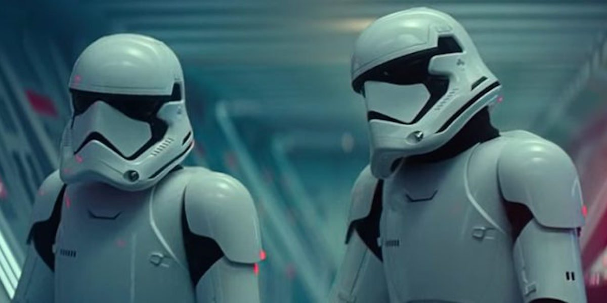 Two stormtroopers, one played by director J.D. Dillard, in Star Wars: The Rise of Skywalker