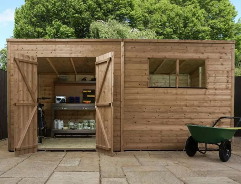 Argos sheds: Mercia Wooden 14 x 8ft Pressure Treated Pent Shed