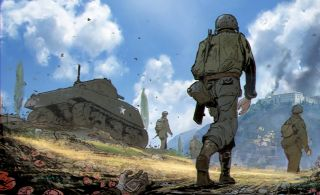 Concept art of soldiers marching