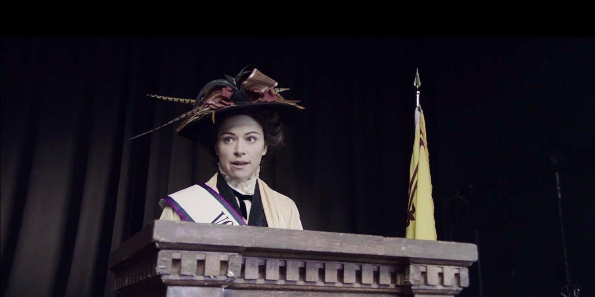 Tatiana Maslany as Emmeline Pankhurst in Drunk History