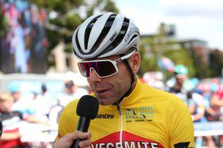Race organiser Cadel Evans speaks with the press ahead of the start of the 2020 Cadel Evans Great Ocean Road Race