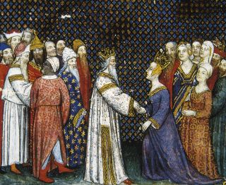 a painting of Basina of Thuringia marrying Childeric I, by a 15th century painter
