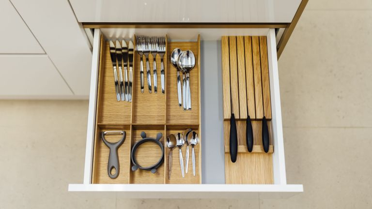 cutlery drawer, organized with kitchen drawer organizer