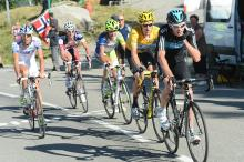 Christopher Froome (Sky) leads his teammate Bradley Wiggins