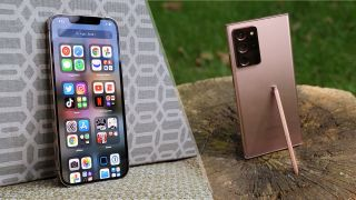 iPhone 12 Pro Max next to a Galaxy Note 20 Ultra