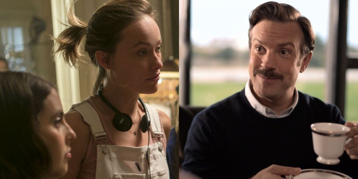 Olivia Wilde on the set of Booksmart and Jason Suidekis as Ted Lasso