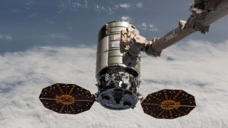 The Northrop Grumman Cygnus NG-14 cargo spacecraft at the International Space Station on Oct. 5, 2020. Its successor, NG-15, will launch on Feb. 20, 2021.