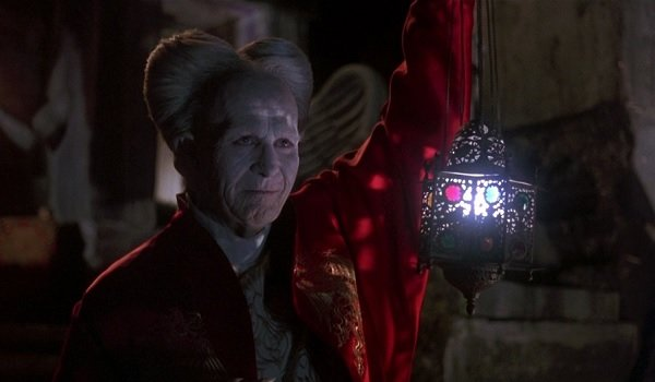 Bram Stoker's Dracula looking rather grim by lantern light