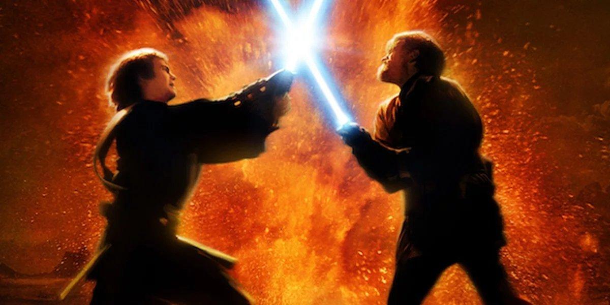 Anakin Skywalker in a lightsaber duel with Obi-Wan Kenobi in Star Wars: Revenge of the Sith