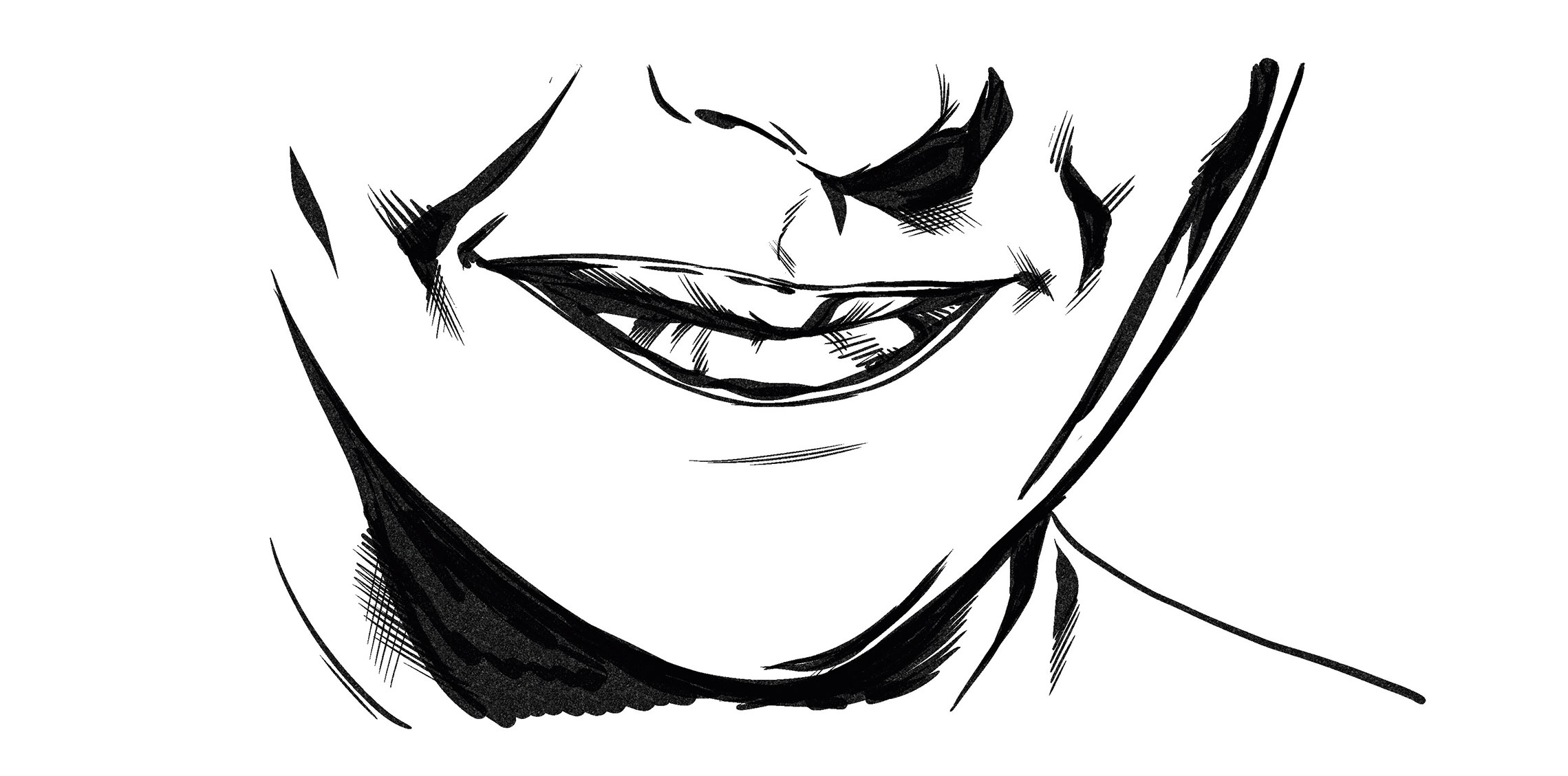 Drawing of a close up of a mouth