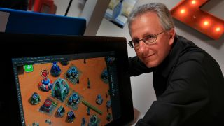 """Mike Verdu, with the video game """"This Means War"""", at the Kabam studio in Los Angeles on Feb. 24, 2015. Mike Verdu is a veteran video game developer who recently sold his start-up to Kabam Inc., one of the biggest creators of smartphone and tablet games."""