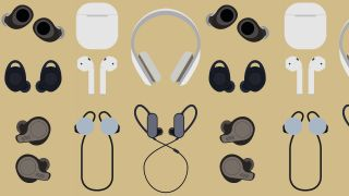 a selection of drawn wireless headphones on a gold background