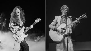 Glenn Hughes and David Bowie, both pictured onstage in late 1974