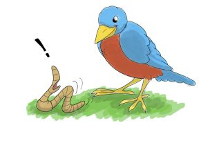 Cartoon of robin staring with delight at surprised worm.