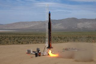 The Vector-R rocket by Vector Space Systems heads skyward on its first test launch from Mojave, California.