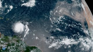 NOAA's GOES-East satellite spotted Tropical Storm Dorian over the Caribbean Sea on Aug. 27, 2019.