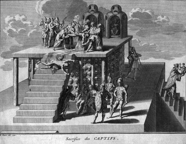 Aztec human sacrifice.