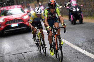 Vini Zabù-Brado-KTM's Giovanni Visconti leads the eventual winner of stage 3 of the 2020 Giro d'Italia, EF Pro Cycling's Jonathan Caicedo, on the slopes of Mount Etna
