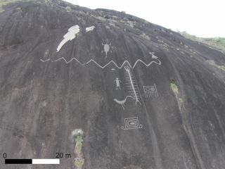 drone shot of venezuela rock art