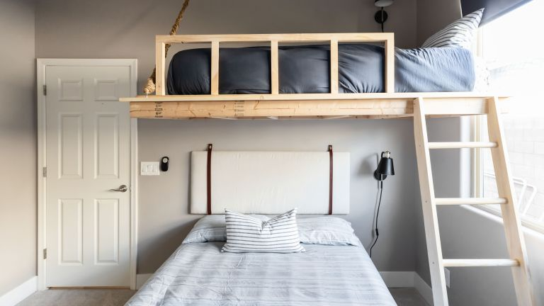 airbnb DIY loft bed in a bedroom with double bed - brooke wait