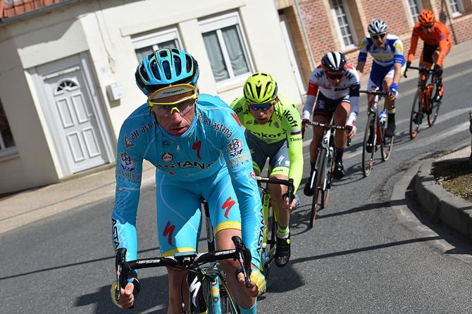 Lieuwe Westra (Astana) leads a breakaway at Gent-Wevelgem