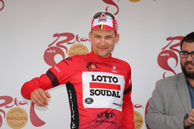 Tim Wellens on the Ruta del Sol podium after stage 4